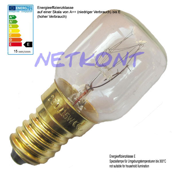 15x Oven Bulb, Lightbulb 15W, E14, 230V Bulbs, Oven-Bulb Crystal clear eBay